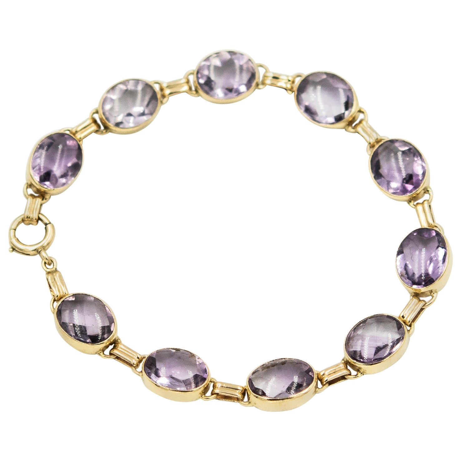 1940s Retro Oval Amethyst Link Gold Bracelet