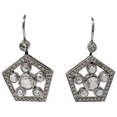 2.22 Carat White Rose Cut Diamond Dangle Earrings in 18 Karat White Gold
