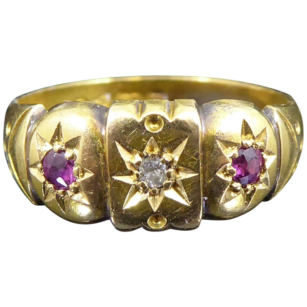 Antique Ruby and Diamond Ring in 18 Carat Yellow Gold, Hallmarked Chester, 1907