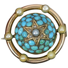 Victorian 9 Carat Gold Turquoise Pave Diamond Pearl Cluster Pendant