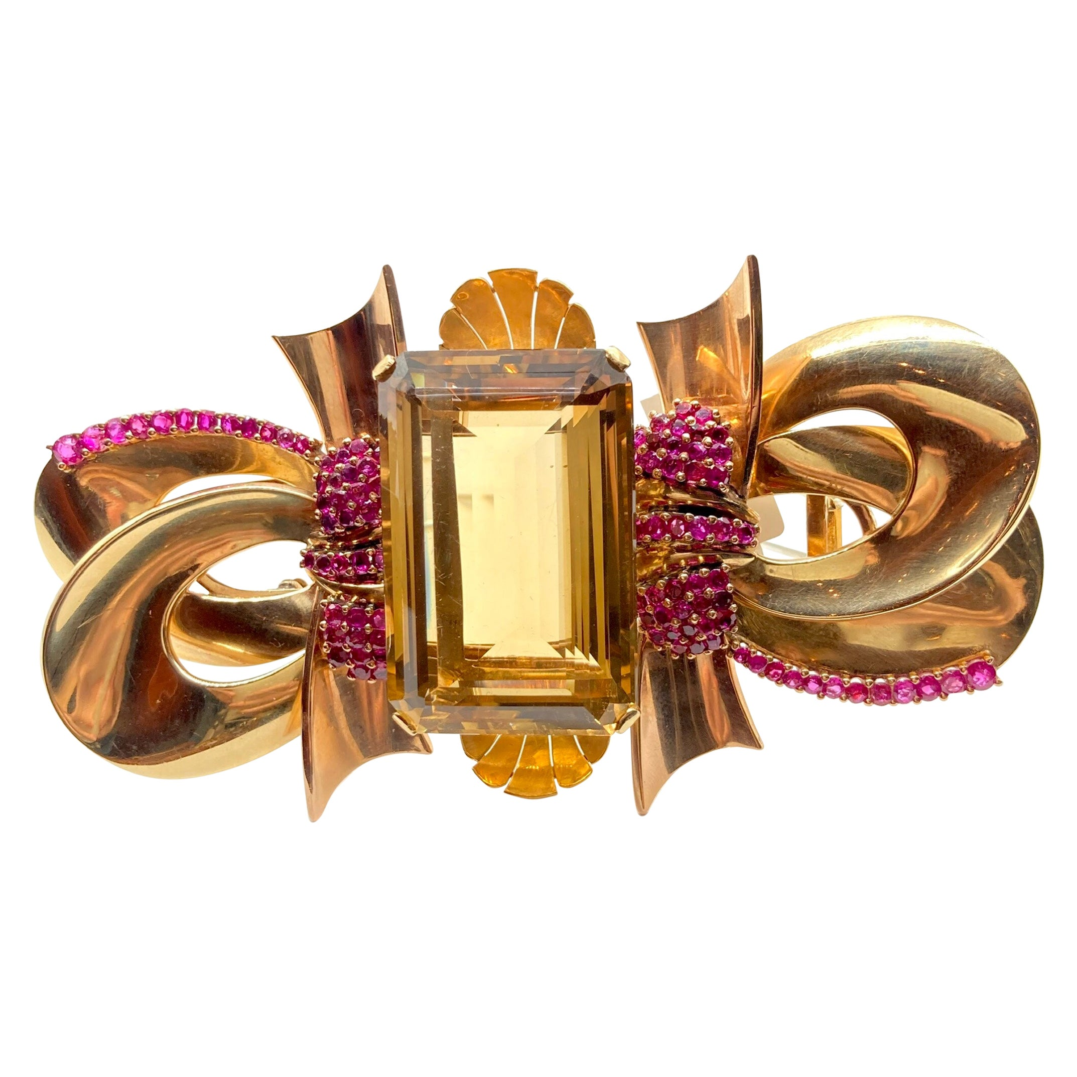 Enormous Retro Citrine and Ruby Gold Clip Brooch
