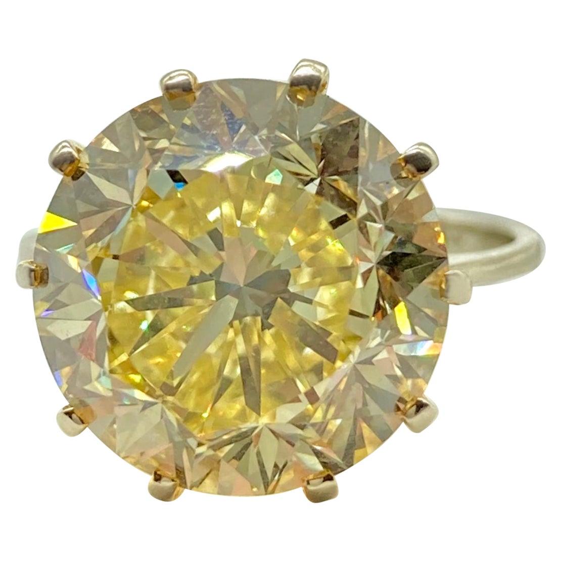 GIA Certified 7.41 Carat Fancy Intense Yellow Diamond Solitaire Ring