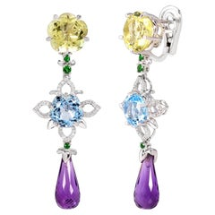 Rhodium-Plated Dangle Earrings with Lemon Quartz Amethyst, Blue Topaz & Diamonds