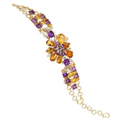 Gold-Plated Mix Cut Amethyst, Citrine and Diamonds Bracelet