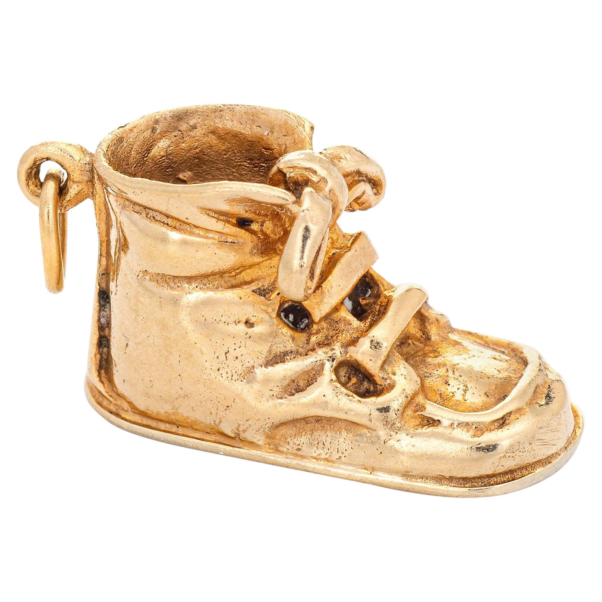 Baby Shoe Charm Vintage 14 Karat Yellow Gold Boot Estate Pendant Fine Jewelry