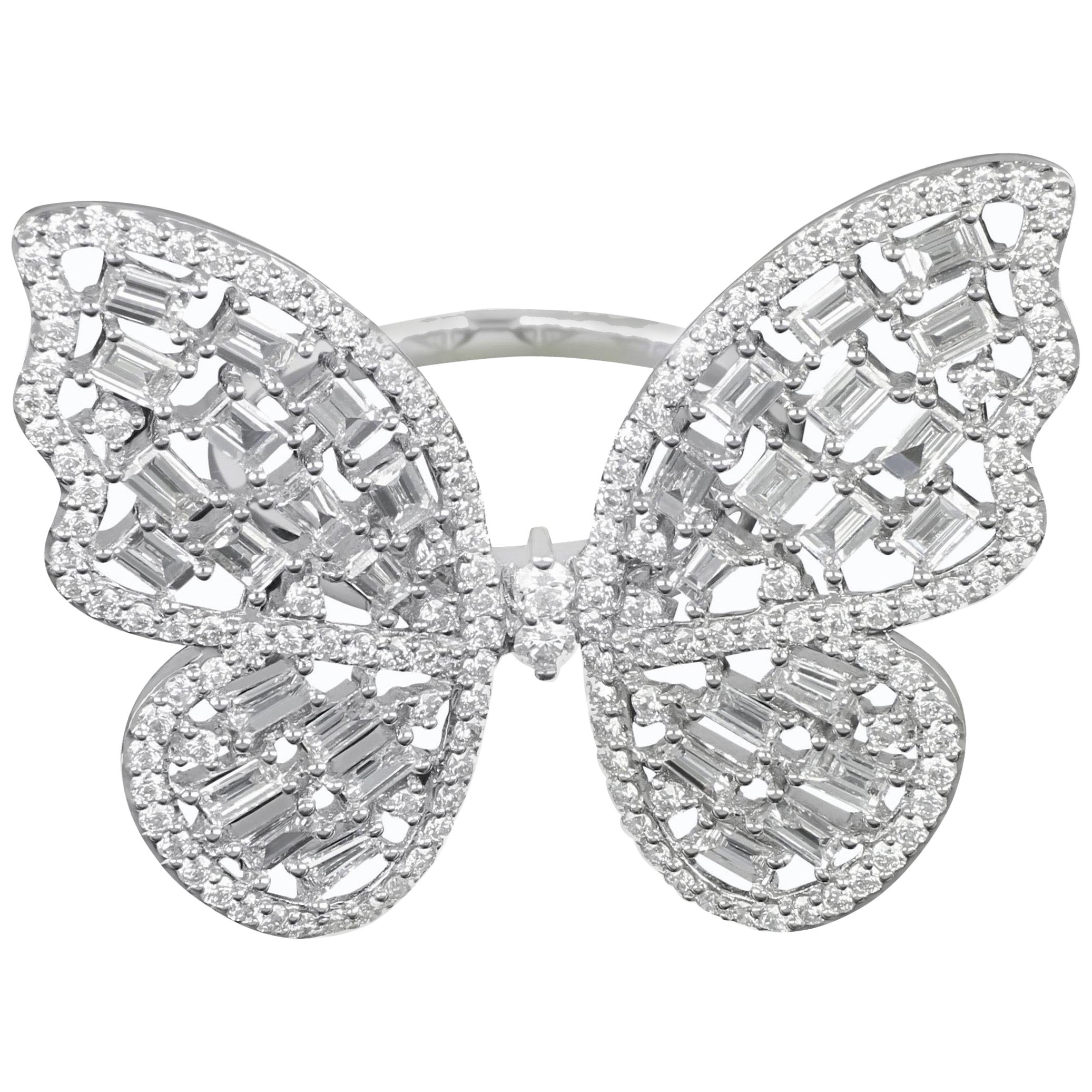 Amwaj Jewellery 18 Karat White Gold Butterfly Diamond Ring