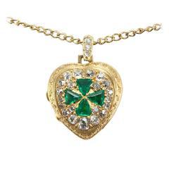 1890s Emerald Diamond Gold Heart Shaped Locket