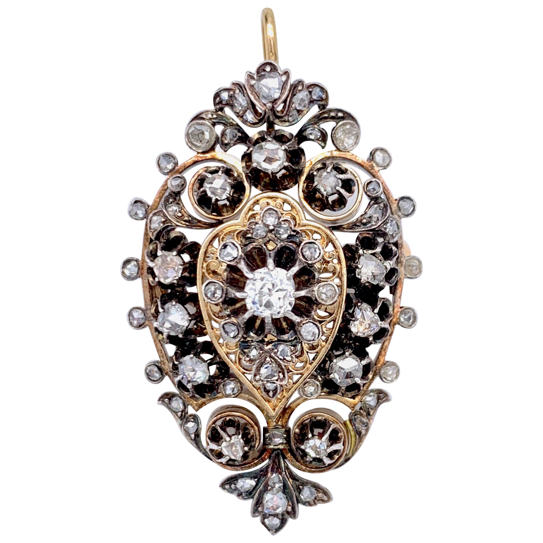 Antique Rose Cut Diamond Heart Pendant Brooch 14 Karat Red Gold Silver