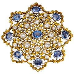 Buccellati Outstanding Sapphire Diamond Gold Brooch Pendant