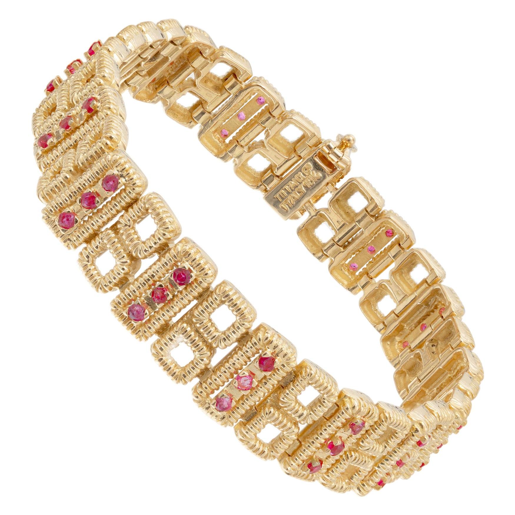 Tiffany & Co. 1.60 Carat Ruby Yellow Gold Link Bracelet