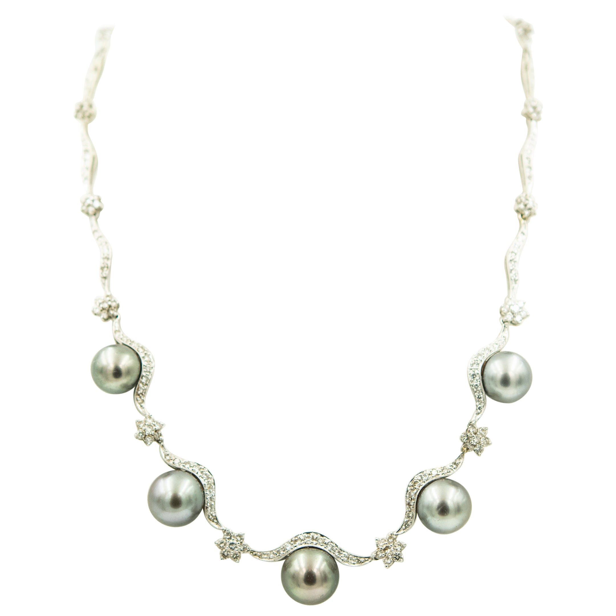 Gray Pearl and Diamond Floral Swag White Gold Necklace