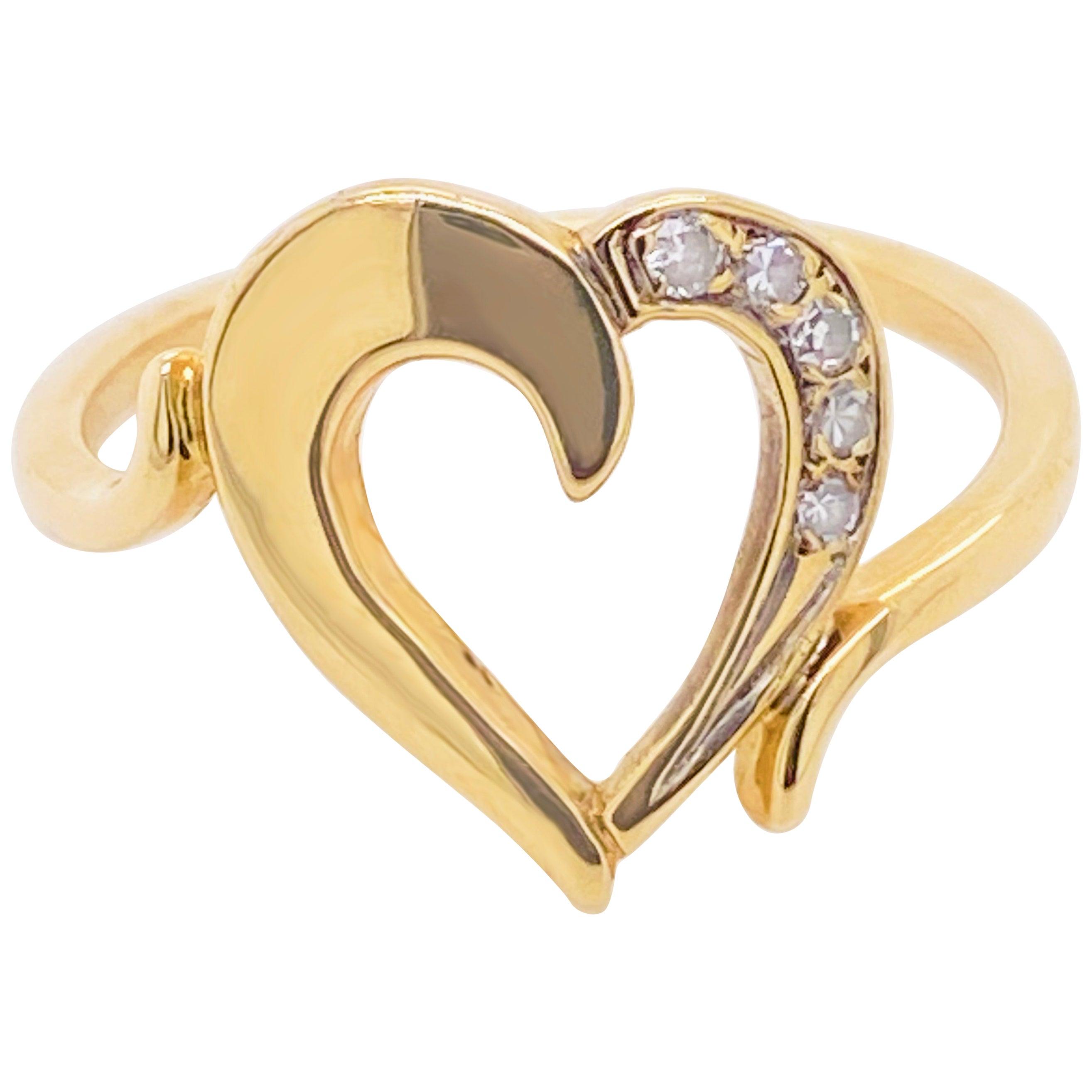 Diamond Heart Ring, Yellow Gold, Open Heart Ring, Promise Ring, Romantic Ring