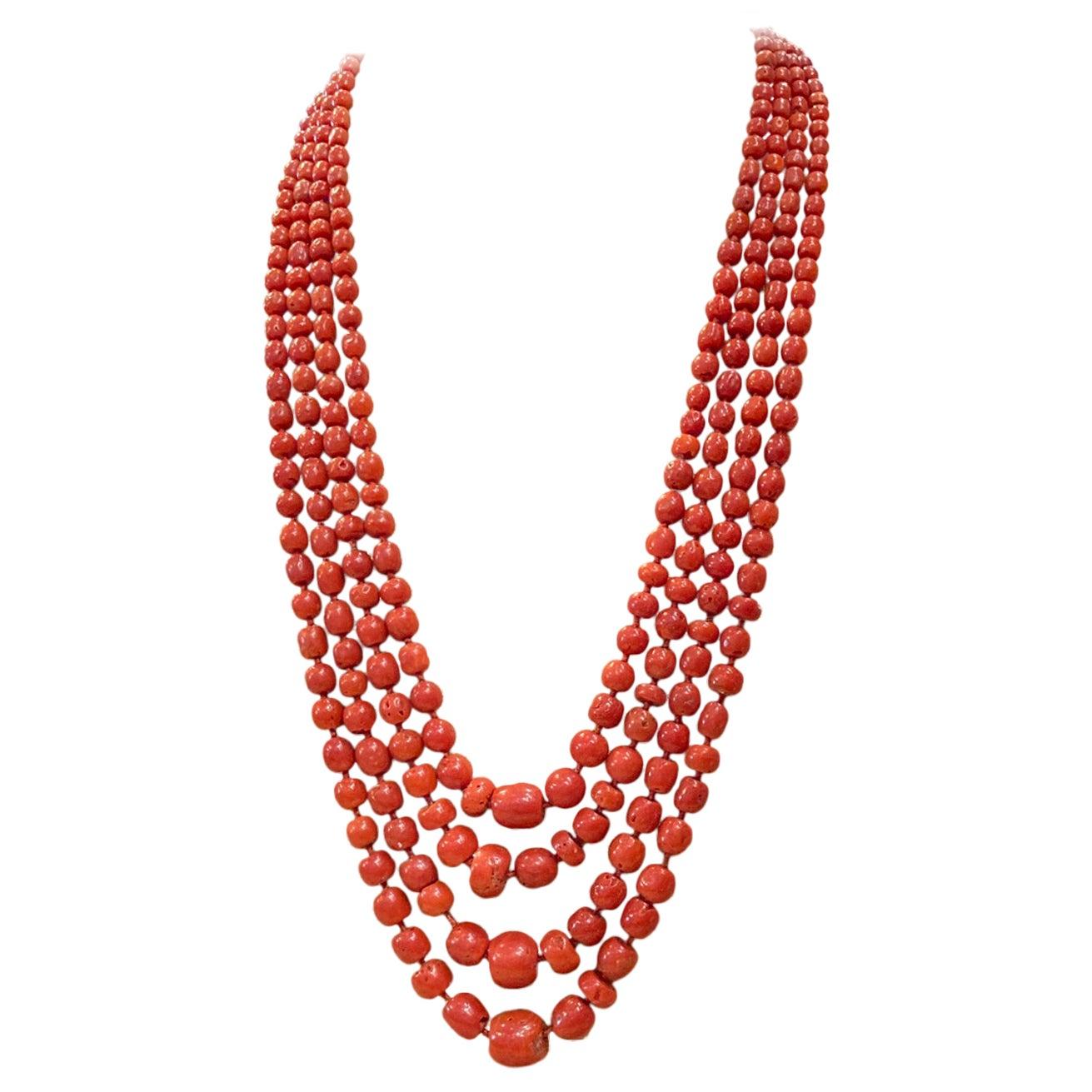Antique Coral Bead Multi-Strand Necklace