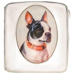 Antique French Bulldog enamel Sterling Case
