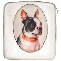 Antique French Bulldog enamel Sterling Case
