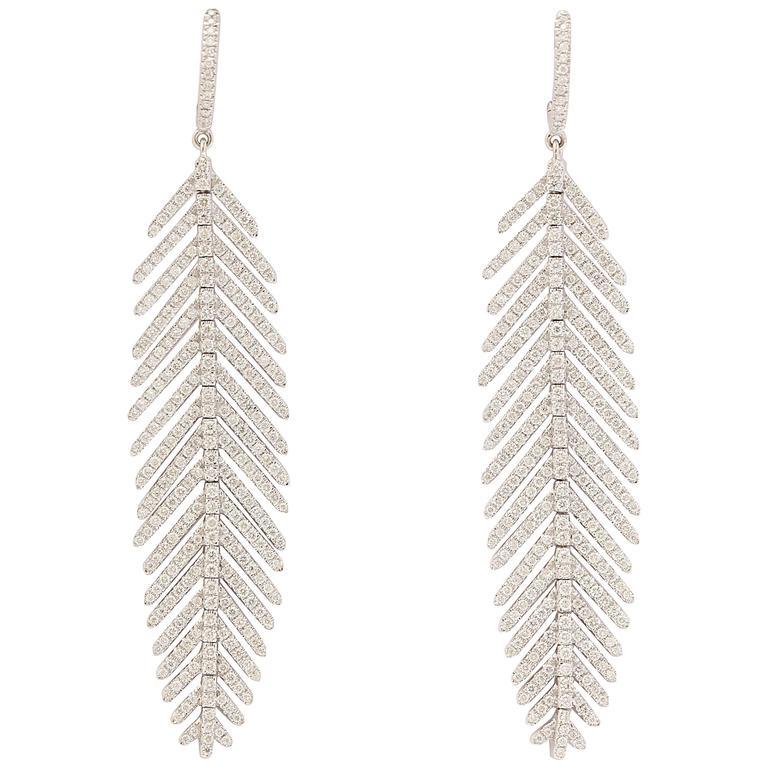 Diamond Gold Flexible Feather Earrings For