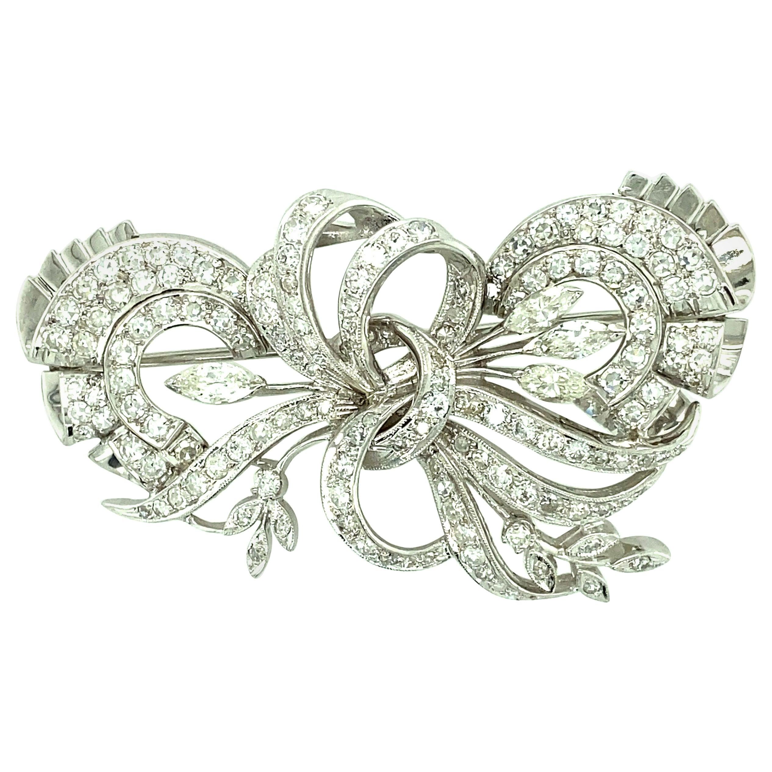 1940s Platinum Diamond Brooch