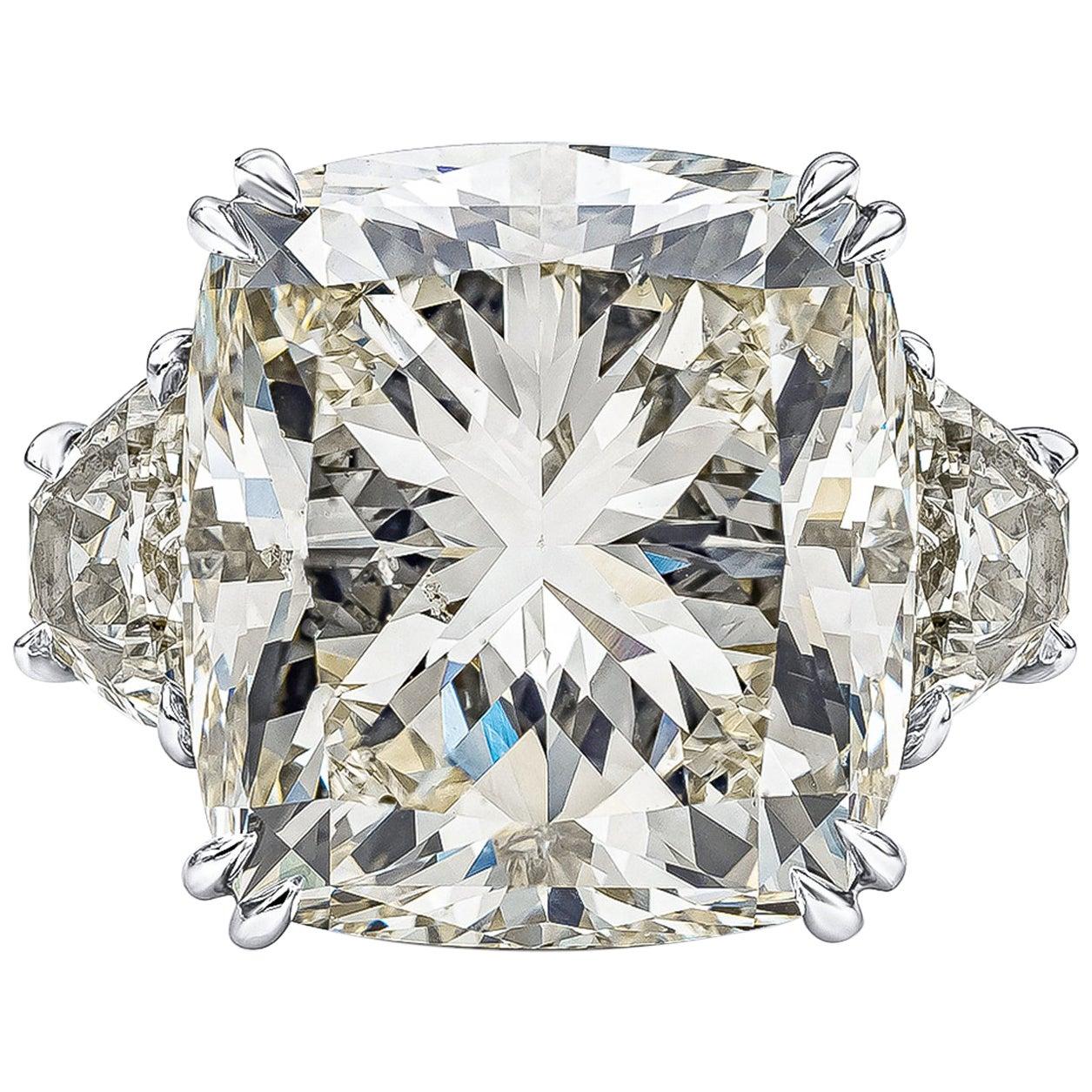 GIA Certified 17.18 Carat Cushion Diamond Three-Stone Engagement Ring
