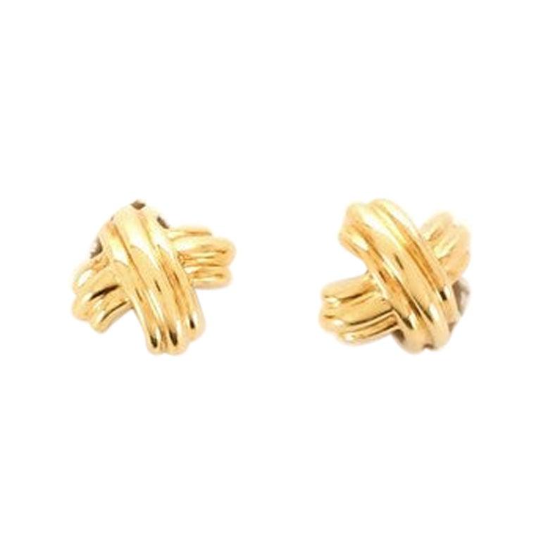 Tiffany & Co. Signature X Clip-On Earrings 18 Karat Yellow Gold