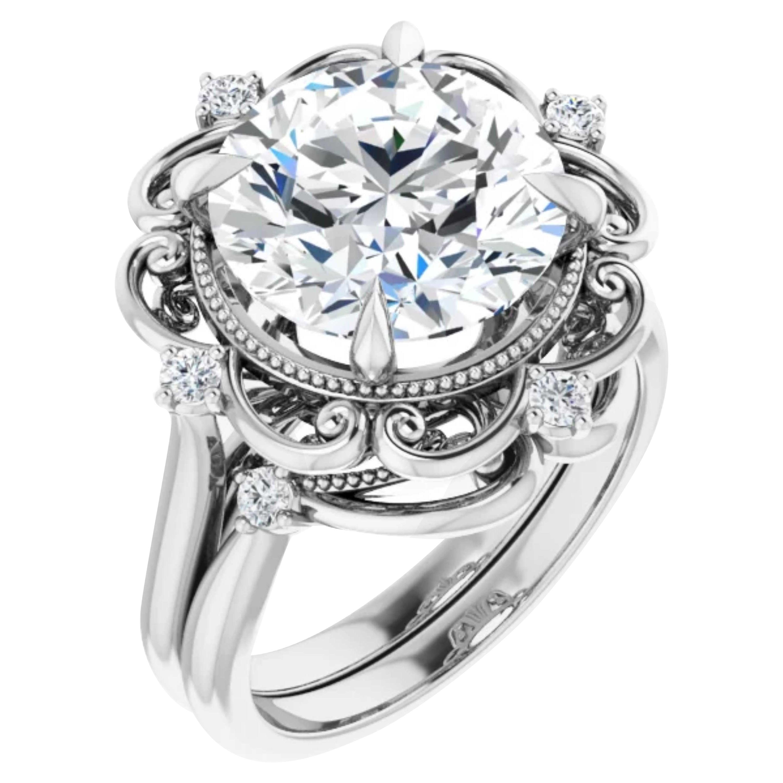 Vintage Style Halo GIA Diamond Round Engagement Wedding Ring Set 18k White Gold
