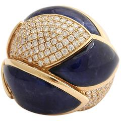 Lapis diamond gold ring