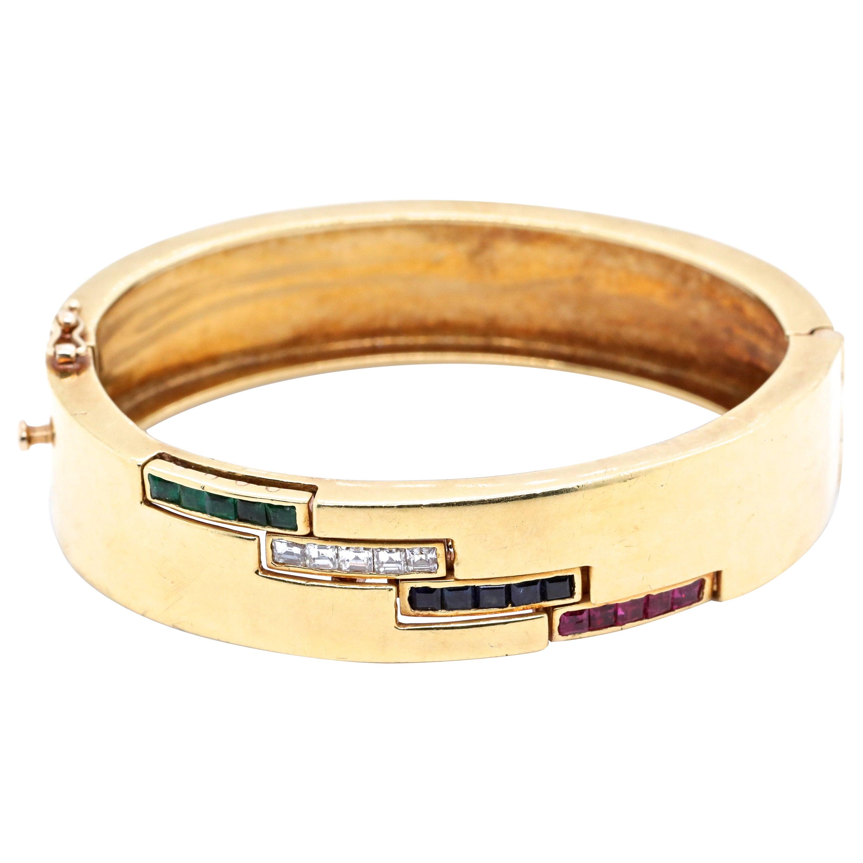 Vintage Ruby Diamond Emerald Sapphire 18 Karat Gold Bangle Bracelet
