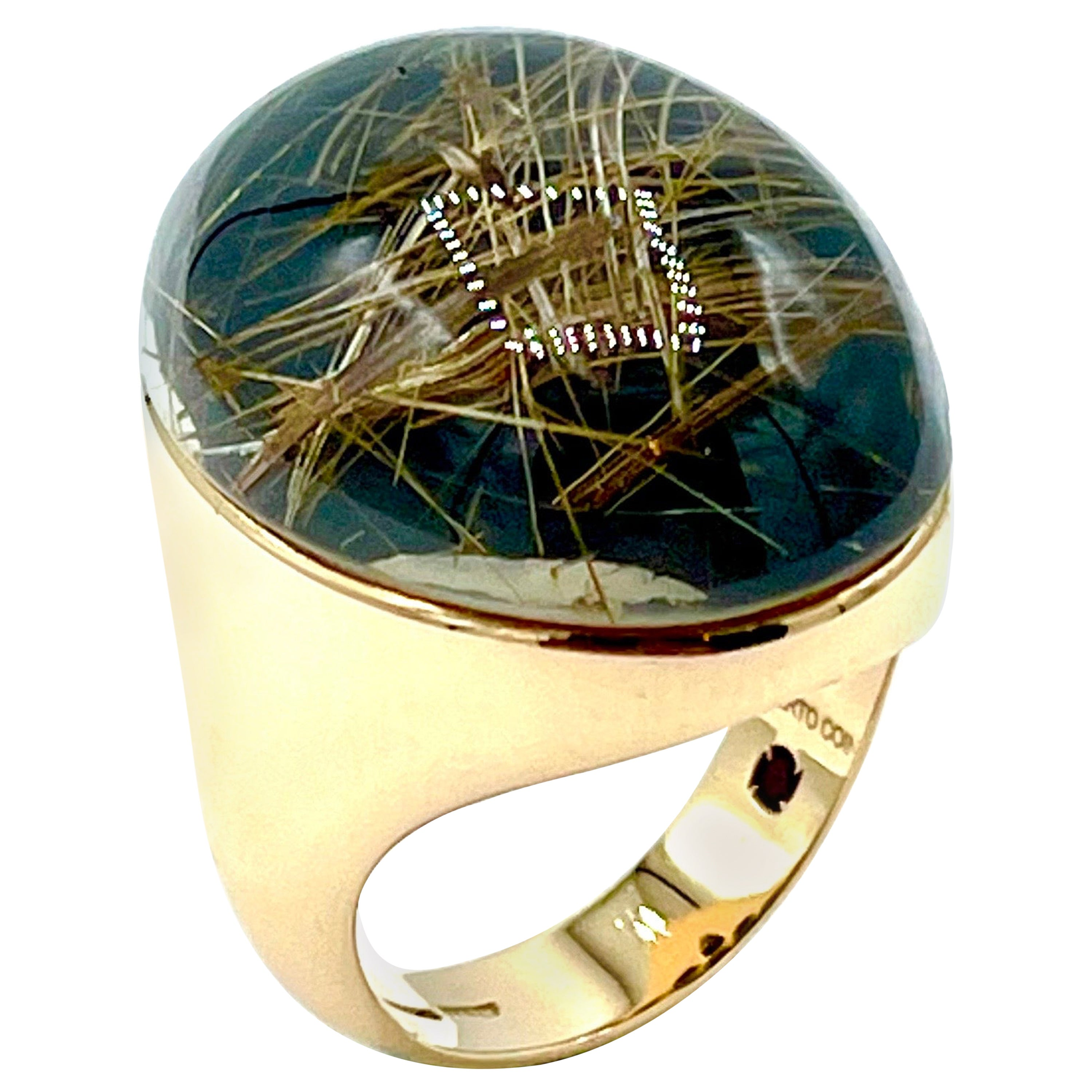 Roberto Coin Rutilated Quartz and Rose Gold Cocktail Ring