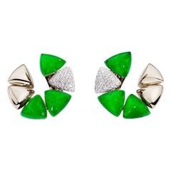 Vhernier Freccia Earrings 18 Karat Gold and Jade Rock Crystal with Diamonds