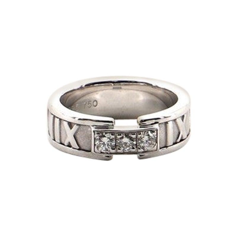 Tiffany & Co. Atlas Band Ring 18 Karat White Gold with Diamonds 4-47