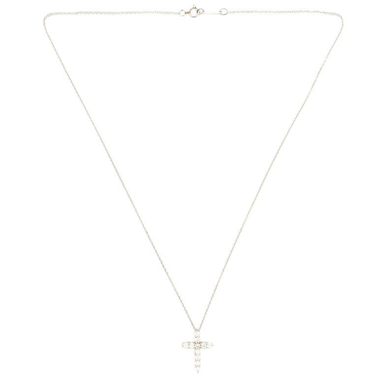 Tiffany & Co. Cross Pendant Necklace Platinum and Diamonds Small