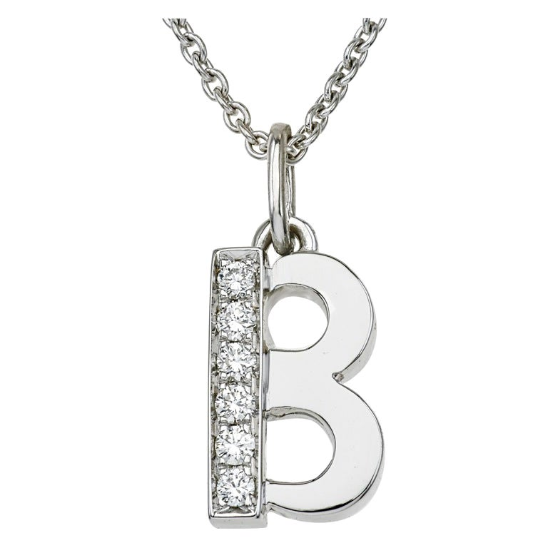 18 Karat White Gold and Diamonds B-Initial Pendant/Necklace