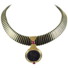 Striking Gold Choker with Gold Coin Ruby Enhancer