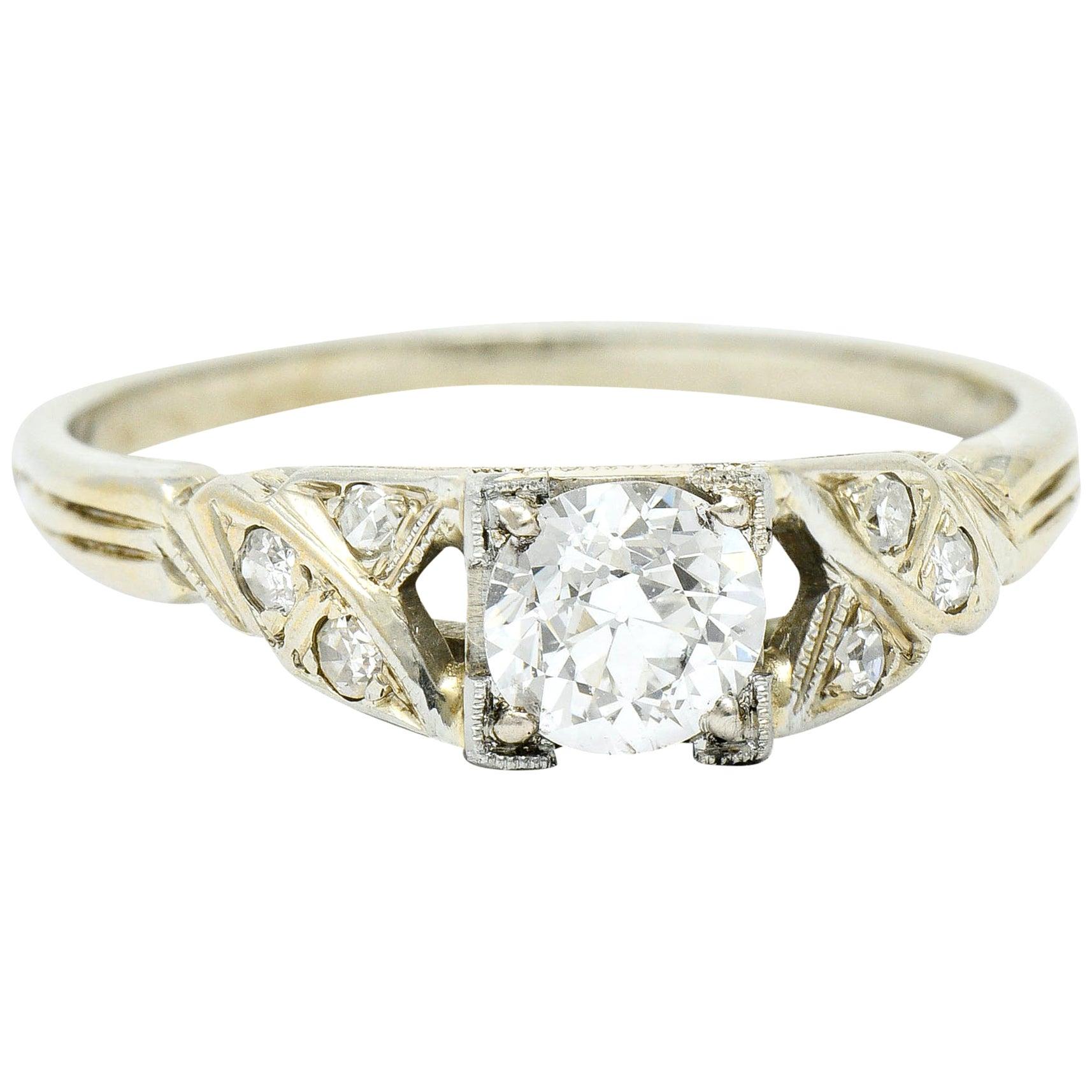 Retro 0.54 Carat Diamond 18 Karat White Gold Engagement Ring