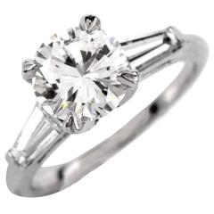 Certified 2.03 Carats Diamond Solitaire Platinum Engagement Ring