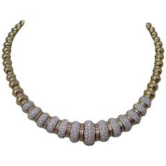 1970s Pave Diamond Gold Necklace