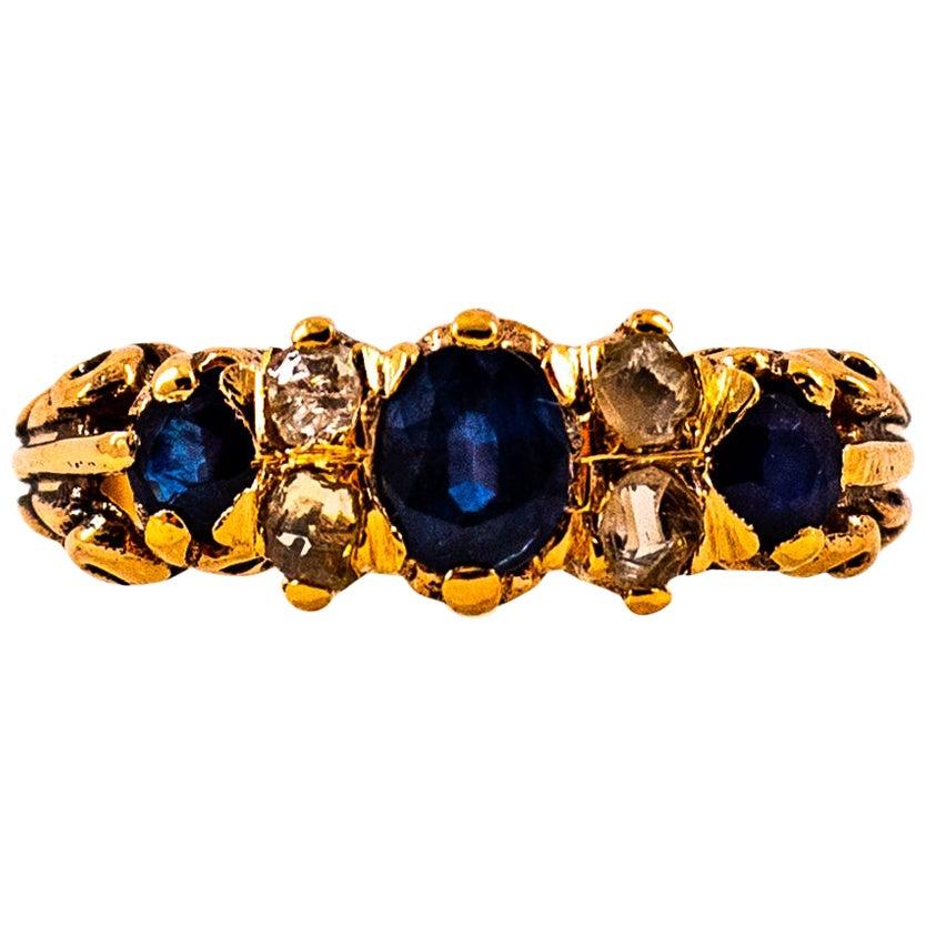 Art Deco 0.75 Carat White Rose Cut Diamond Blue Sapphire Yellow Gold Band Ring