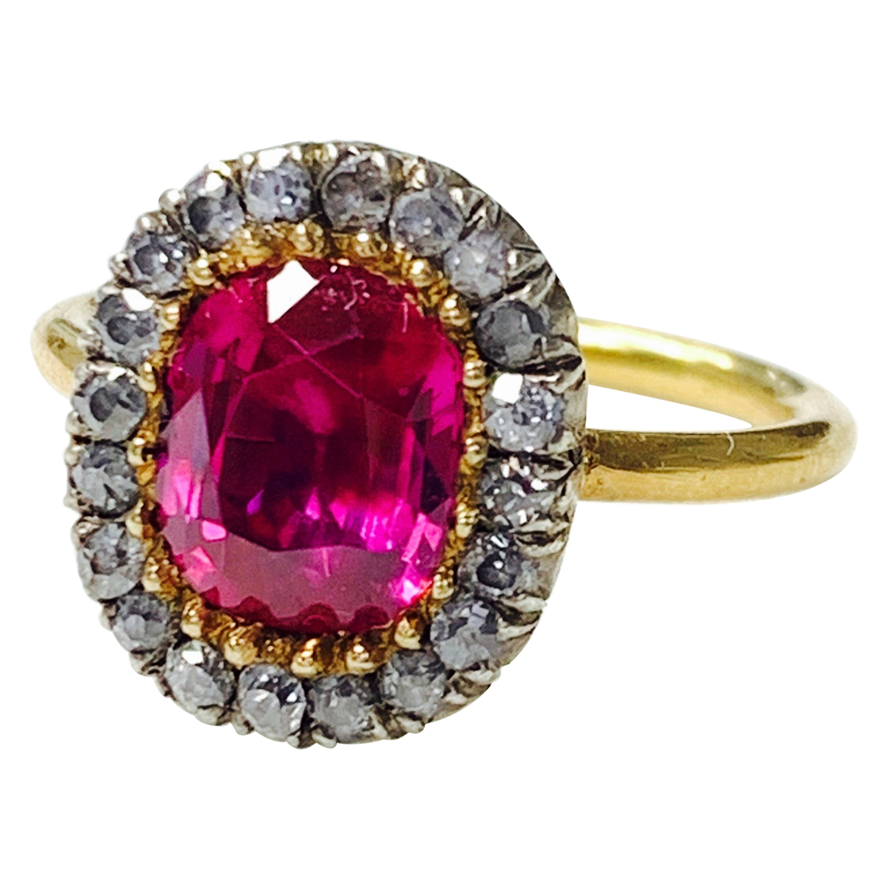 AGL Certified 1920 Antique Burma No Heat Oval Ruby and Diamond Ring
