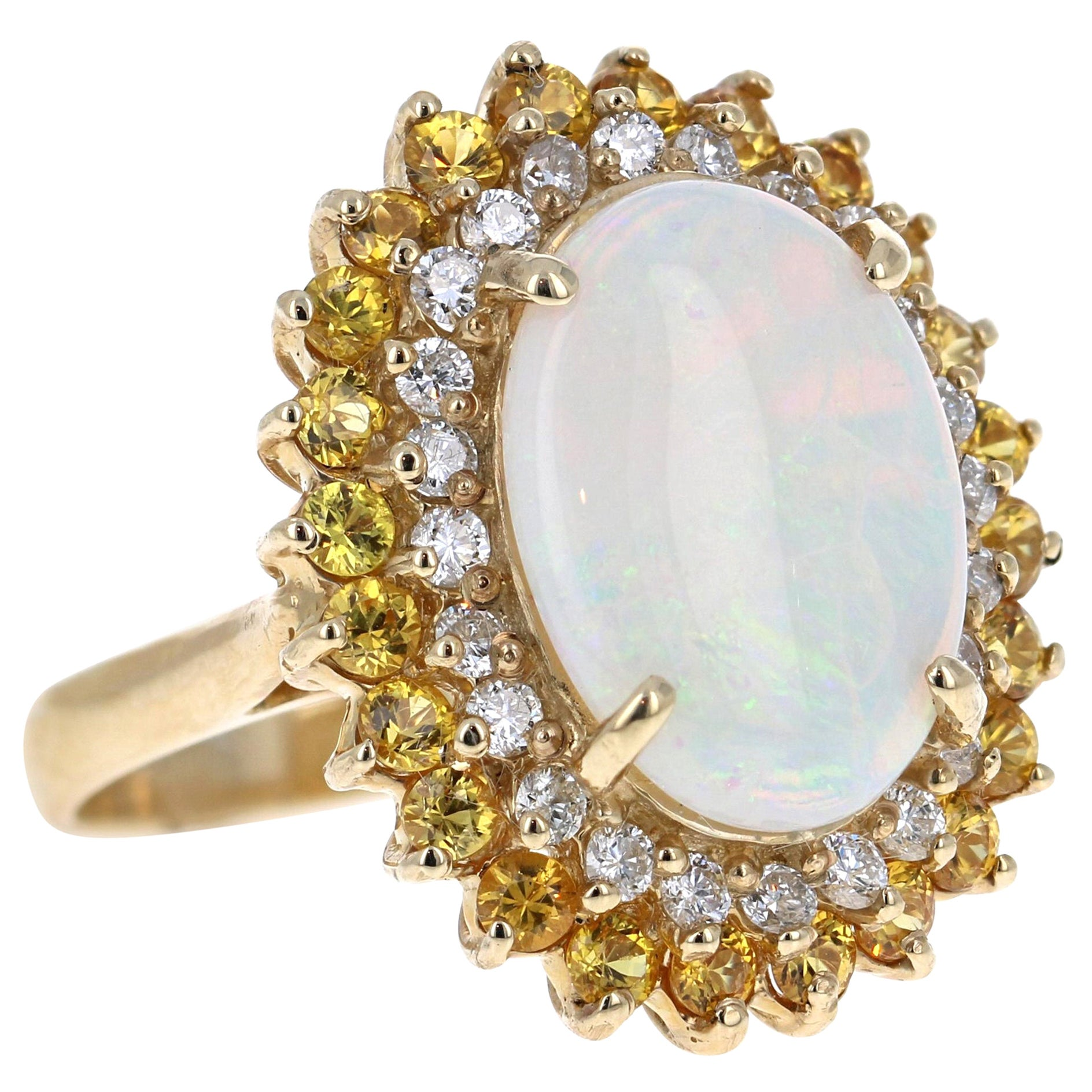5.70 Carat Opal Yellow Sapphire and Diamond 14 Karat Yellow Gold Cocktail Ring