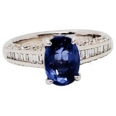 GIA Unheated Sri Lanka Blue Sapphire Oval and White Diamond Ring