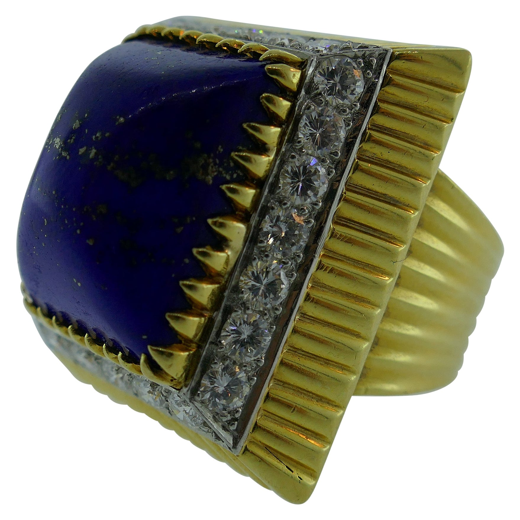 Vintage 18 Karat Yellow Gold, Lapis and Diamond Cocktail Ring, circa 1970s