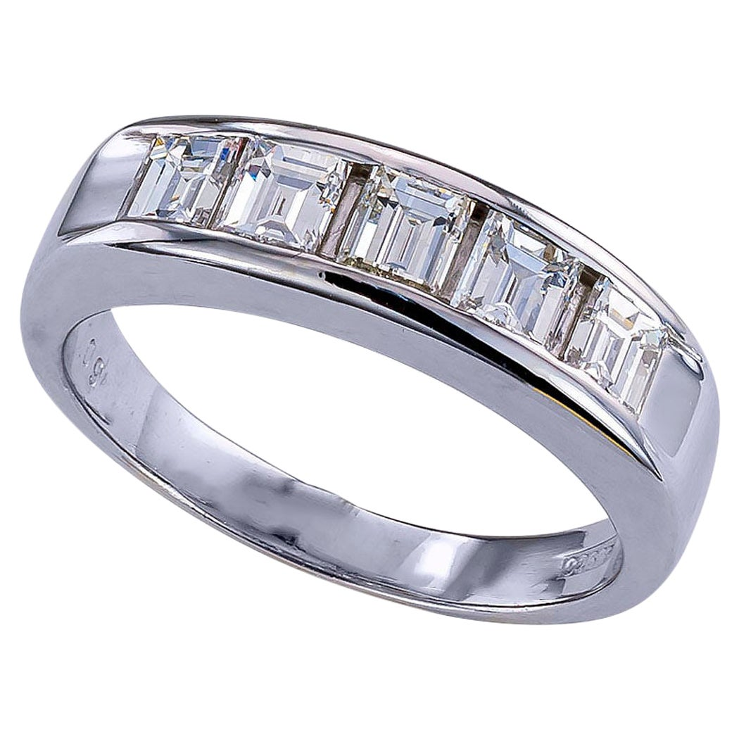Baguette Diamond Platinum Wedding Ring
