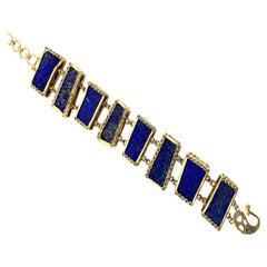 20 Karat Yellow Gold Ladder Bracelet with 135.55 Carat Lapis Lazuli