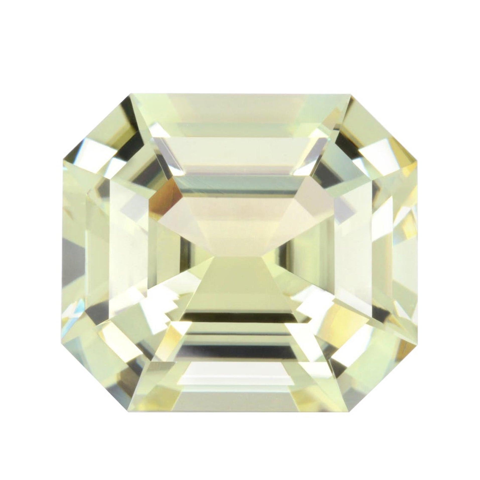 Greenish Yellow Tourmaline Ring Gem 17.54 Carat Unset Emerald Cut Loose Gemstone