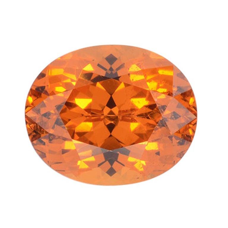 Mandarin Garnet Ring Gem 5.46 Carat Unset Oval Loose Gemstone