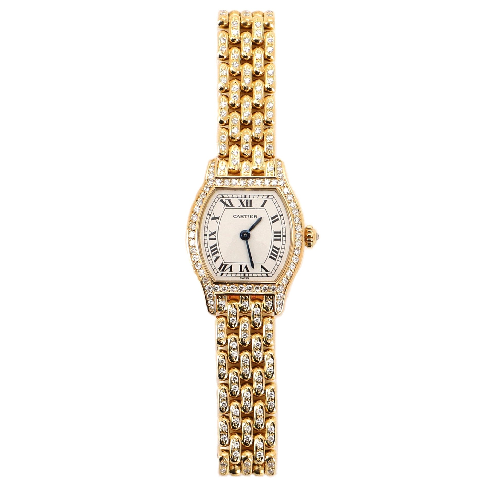 Cartier Tortue Quartz Watch Watch Yellow Gold and Diamonds 20