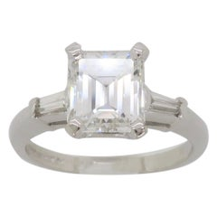 Elegant GIA Certified Emerald Cut Diamond Engagement Ring with Tapered Baguettes