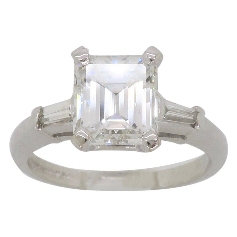 Elegant GIA Certified Emerald Cut Diamond Engagement Ring with Tapered Baguettes For Sale
