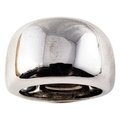 Vintage Cartier 18 Karat White Gold Wide Band Ring