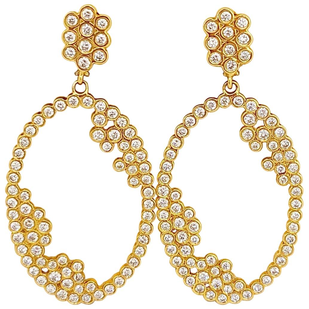 Cellini 18kt Yellow Gold 3.88ct. Diamond Bubble Hanging Earrings
