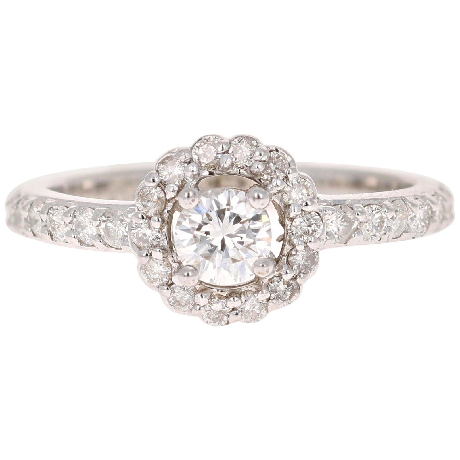 0.82 Carat Diamond 14 Karat White Gold Ring